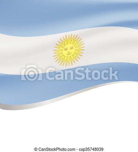 lenget lobogó, argentína, white háttér - csp35748039