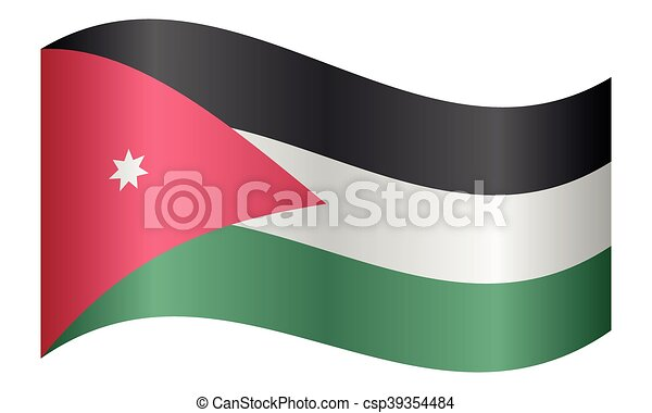 lenget lobogó, jordánia, white háttér - csp39354484