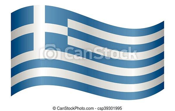 lenget lobogó, white háttér, görögország - csp39301995