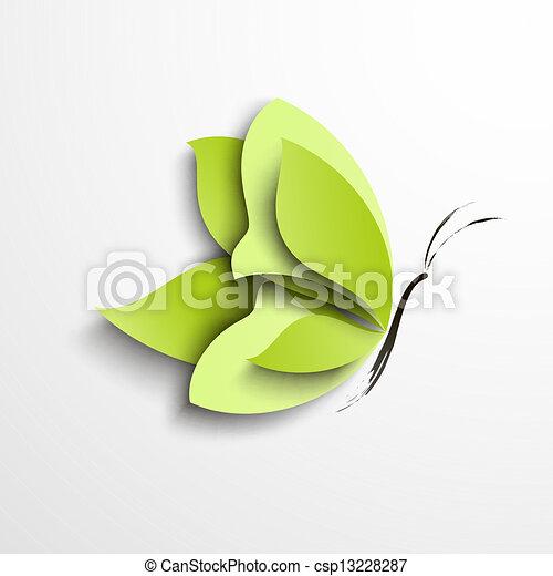 lepke, dolgozat, zöld - csp13228287