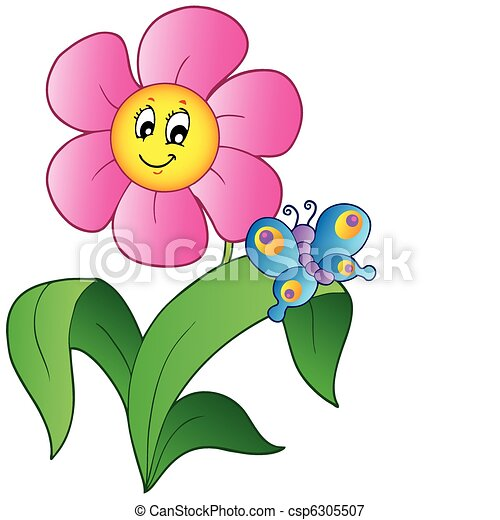lepke, virág, karikatúra - csp6305507