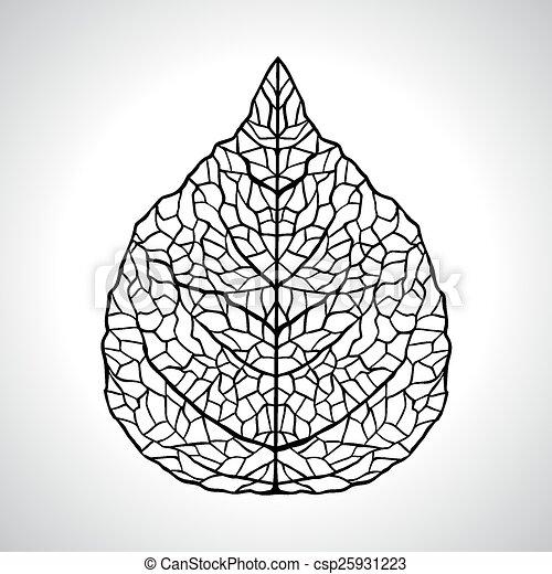levél növényen, isolated., makro, ábra, vektor, fekete, természetes - csp25931223