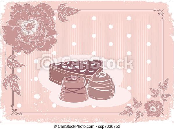 levelezőlap, édesség, csokoládé, pasztell, kártya, háttér, virágos, .vector, szüret, colors. - csp7038752