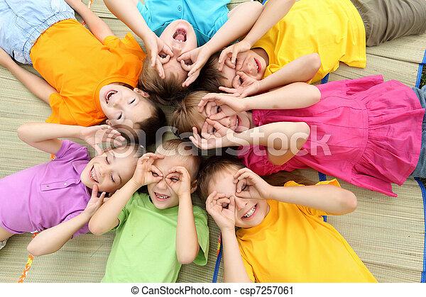 liget, csoport, gyerekek - csp7257061