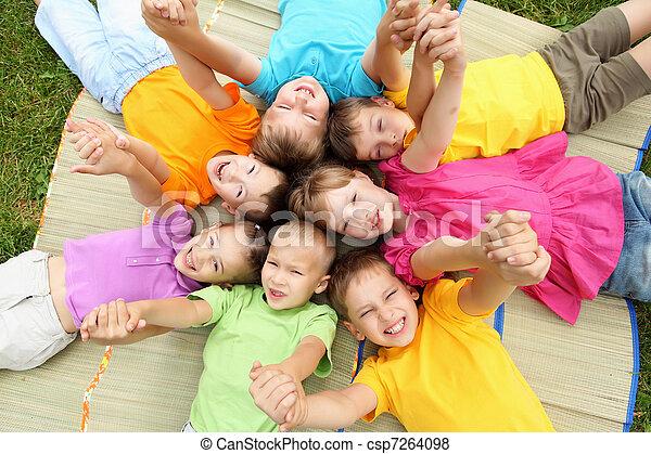 liget, csoport, gyerekek - csp7264098