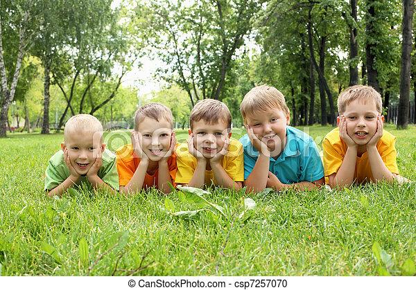 liget, csoport, gyerekek - csp7257070