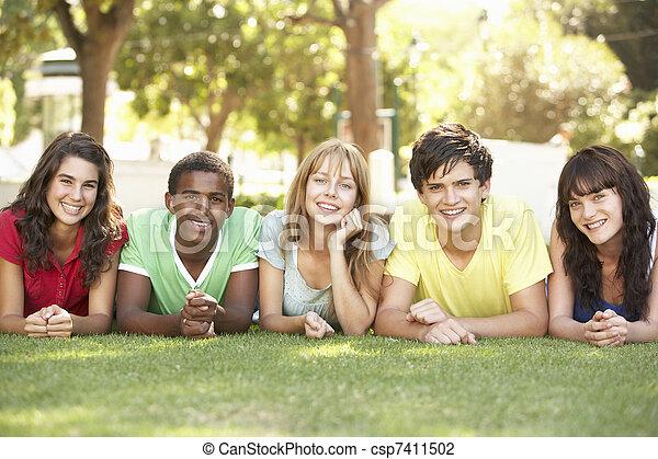 liget, emészt, csoport, tizenéves, fekvő - csp7411502