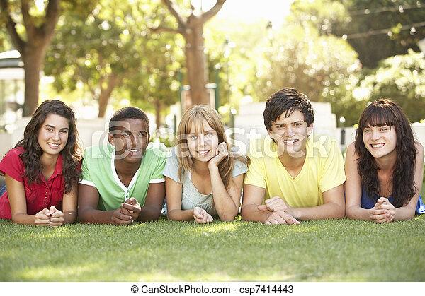 liget, emészt, csoport, tizenéves, fekvő - csp7414443