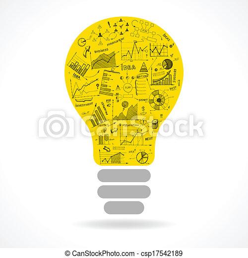 lightbulb, szórakozottan firkálgat, gondolat, táblázatok, infographics, ikon - csp17542189