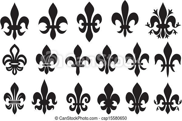 liliom, címertani, virág, -, jelkép - csp15580650
