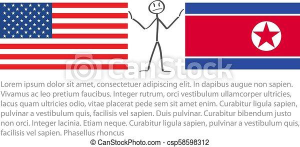 lobogó, észak, lobogó, amerika, között, bennünket, vektor, egyesült államok, feszültség, egyesült, korea, stickerman, enyhít - csp58598312