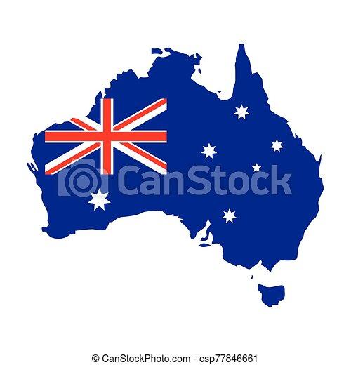 lobogó, ausztrália, fehér, térkép háttér - csp77846661