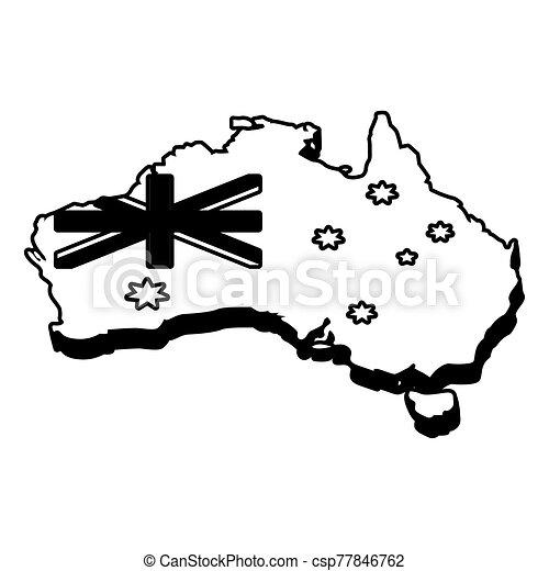 lobogó, ausztrália, fehér, térkép háttér - csp77846762