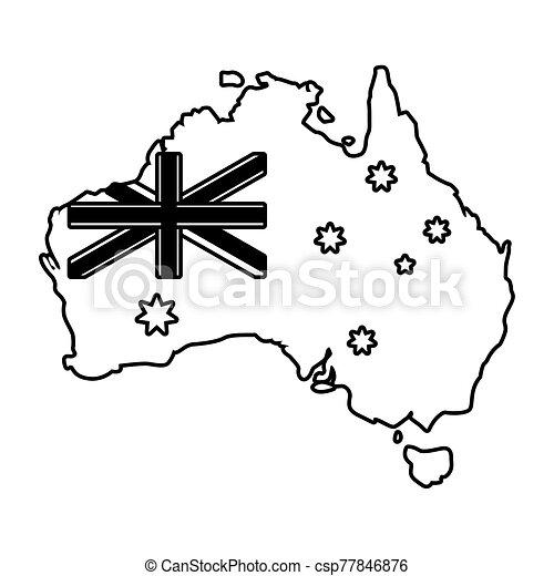 lobogó, ausztrália, fehér, térkép háttér - csp77846876