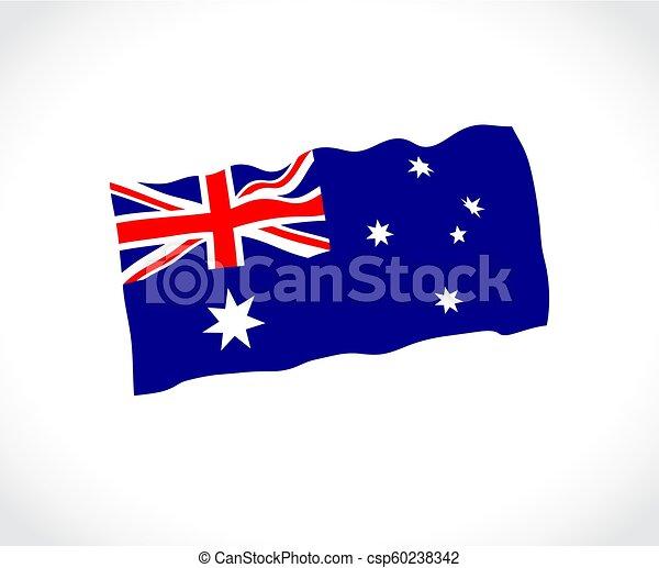 lobogó, ausztrália, white háttér - csp60238342