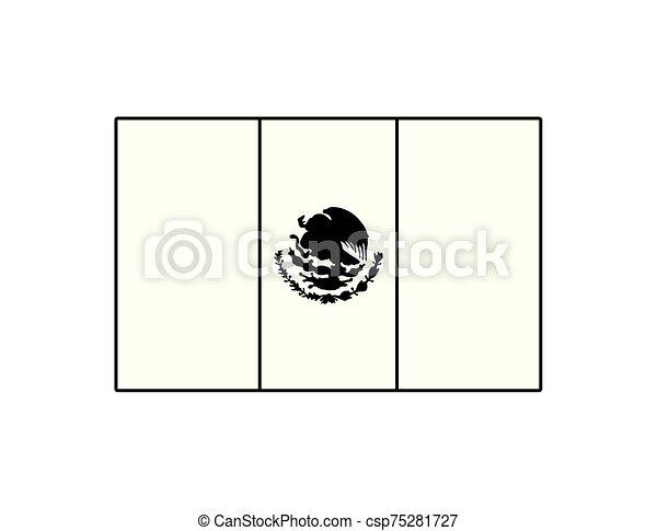 lobogó, mexikói, white háttér - csp75281727