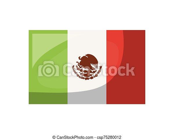 lobogó, mexikói, white háttér - csp75280012