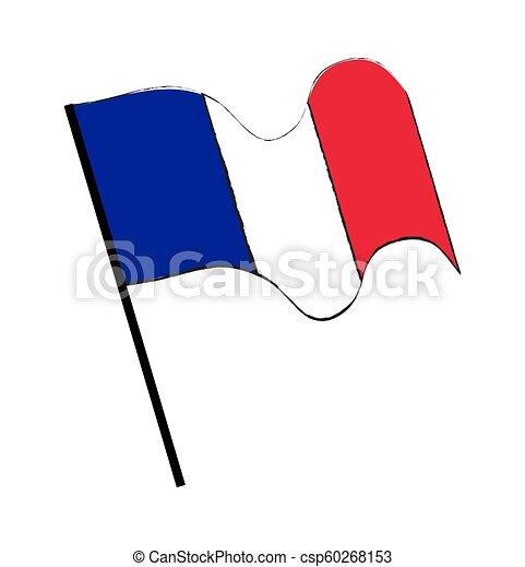 lobogó, vektor, háttér, elszigetelt, fehér, lenget, tervezés, franciaország - csp60268153