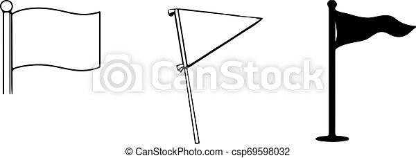 lobogó, white háttér, ikon - csp69598032