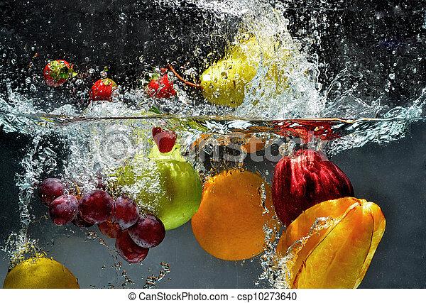 loccsanás, friss gyümölcs, víz - csp10273640