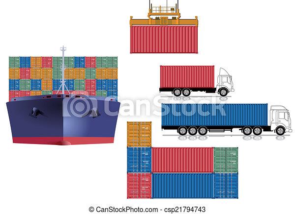 logisztika, konténer, szállít - csp21794743