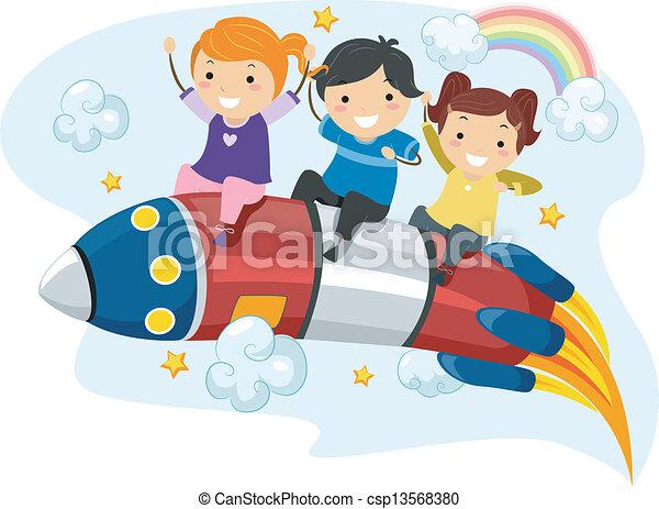 lovagol, gyerekek, rakéta - csp13568380
