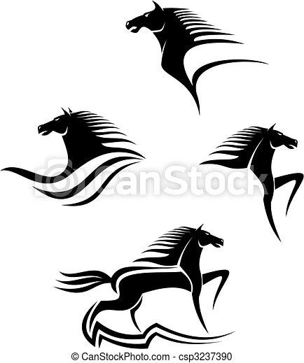 lovak, jelkép, fekete - csp3237390