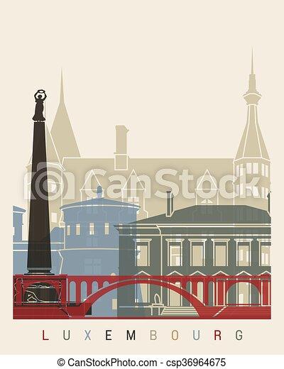 luxemburg, poszter, láthatár - csp36964675