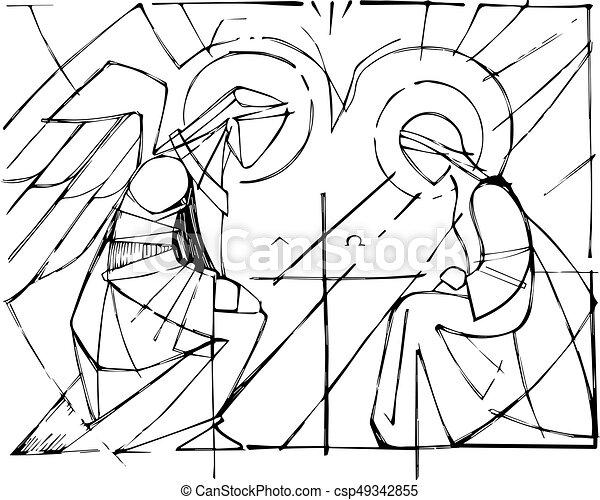 mária, kinyilatkoztatás, szűz, arkangyal, gabriel - csp49342855
