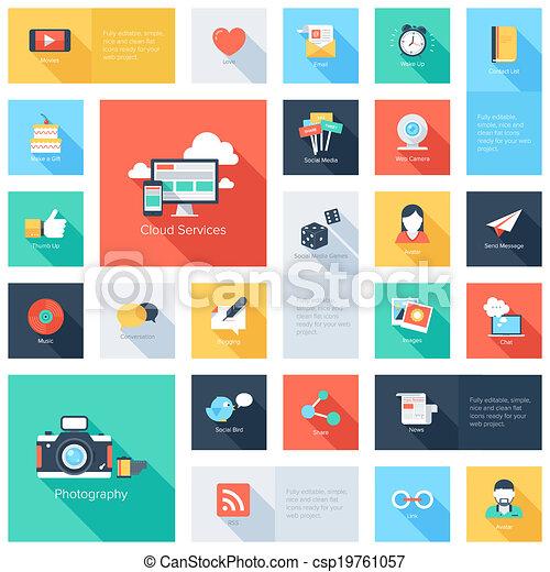 média, icons., társadalmi - csp19761057