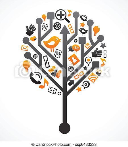 média, társadalmi, fa, hálózat, ikonok - csp6433233