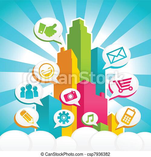 média, társadalmi, színes, város - csp7936382
