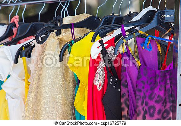 mód, öltözet, hirdetmények, előadás - csp16725779