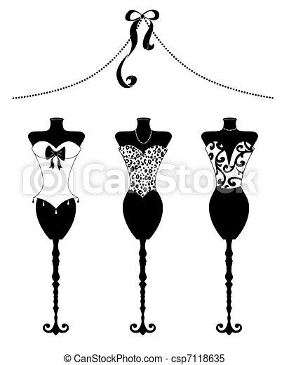 mód, bustiers, alakít, fekete, sikk, white ruha - csp7118635
