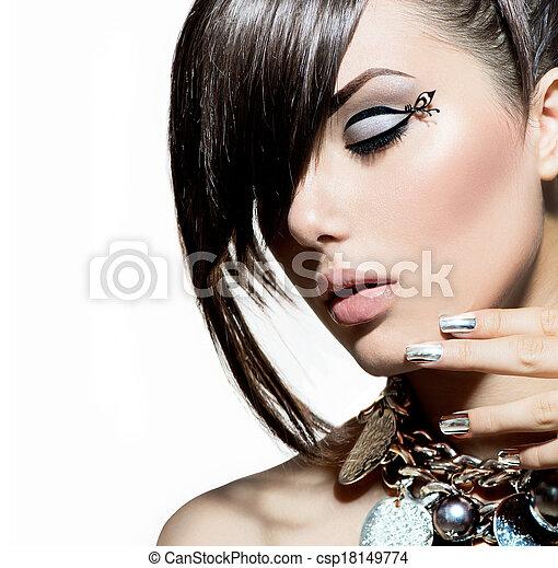 mód, mód, haj, portrait., divatba jövő, formál, leány - csp18149774