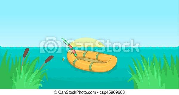 mód, transzparens, tó halfajták, horizontális, karikatúra - csp45969668