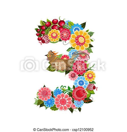 mód, virág, khokhloma, szám, madarak - csp12100952