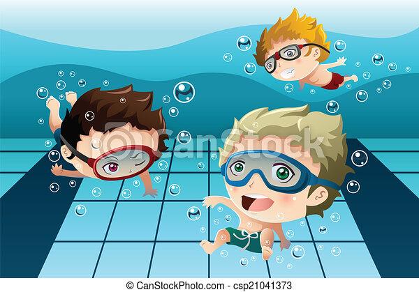 móka, gyerekek, birtoklás, pocsolya, úszás - csp21041373