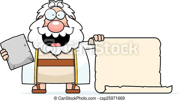 mózes, karikatúra, felcsavar - csp25971669