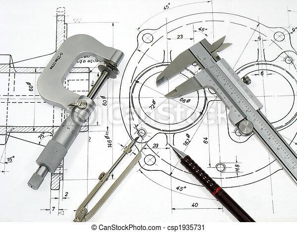 műszaki, mérnök-tudomány, eszközök, rajz - csp1935731