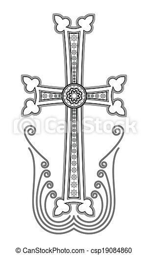 művészet, csíptet, apostoli, kereszt, hagyományos, örmény, templom - csp19084860