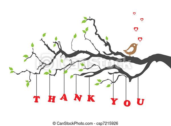 madár, ön, hálát ad, kártya, köszönés - csp7215926