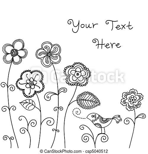 madár, háttér, virágos - csp5040512