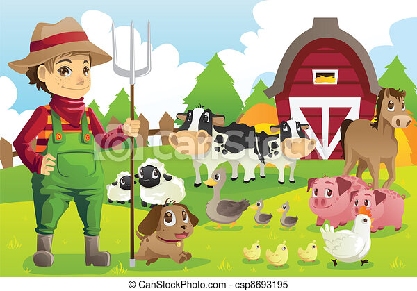 major állat, farmer - csp8693195