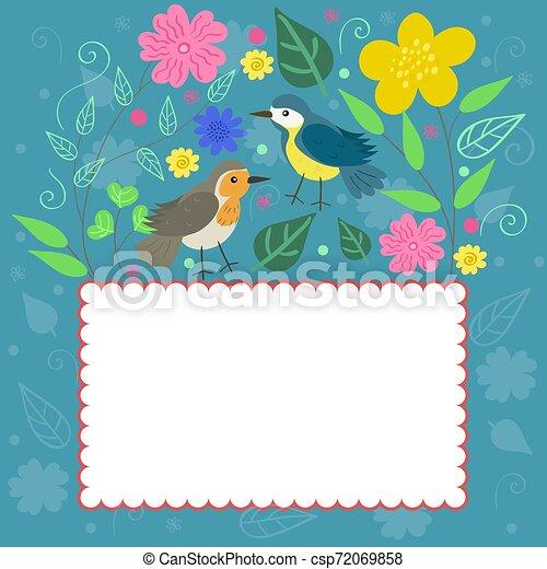 megbecsült, szórakozottan firkálgat, keret, vektor, graphics., plants., madarak - csp72069858