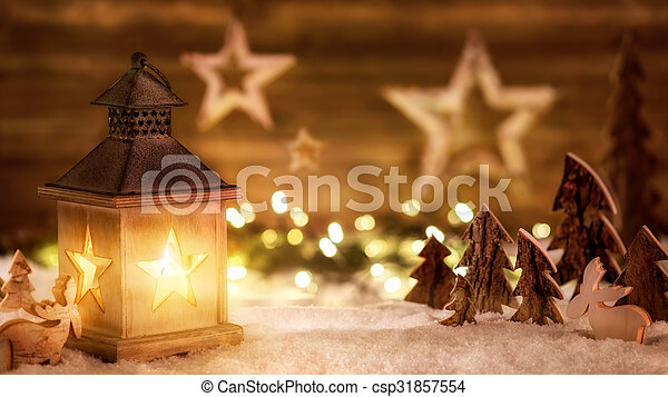 meleg, christmas táj, világító, fény - csp31857554