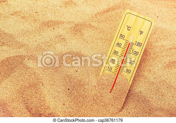 meleg, dezertál, homok, rendkívül, lázmérő - csp36761179
