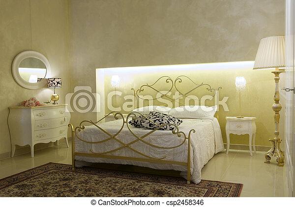 meleg, klasszikus, hálószoba - csp2458346