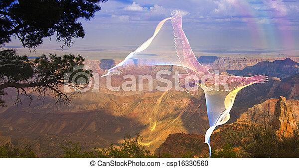 menekülés, ghostlike, kanyon, abroncs, felül, nagy, madár - csp16330560