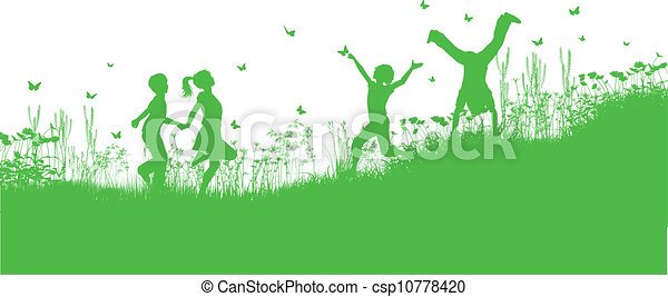 menstruáció, fű, játék, gyerekek - csp10778420